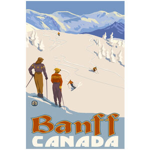 Banff Canada Mountain Slope Skiers