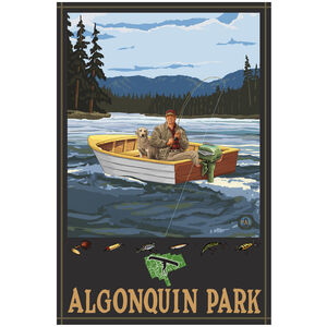 Algonquin Park Ontario Canada Fisherman In Boat Hills