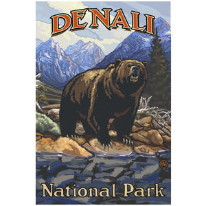 Denali National Park Grizzly On Bank
