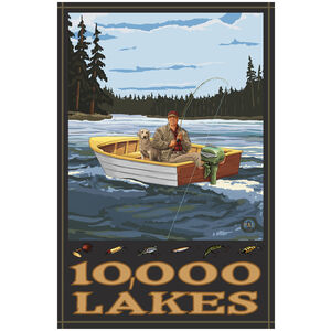 10,000 Lakes Fisherman In Boat Hills