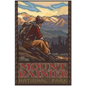 Mount Rainier National Park Mountain Hiker Man
