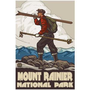Mount Rainier National Park Skier Carrying Skis