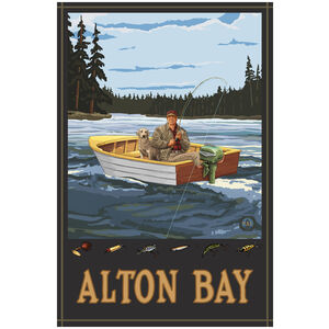 Alton Bay New Hampshire Fisherman In Boat Forest