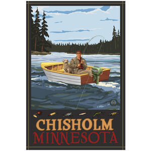 Chisholm Minnesota Fisherman In Boat Forest