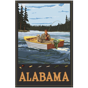 Alabama Fisherman In Boat Forest