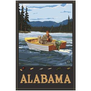 Alabama Fisherman In Boat Hills