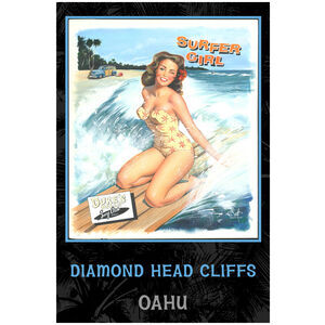 Surfer Girl Diamond Head Cliffs Oahu,Hawaii